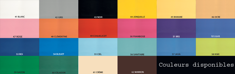 Nuancier Ecopostural 22 couleurs disponibles